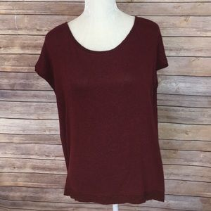 Matty M wine scoop neck cap sleeve top
